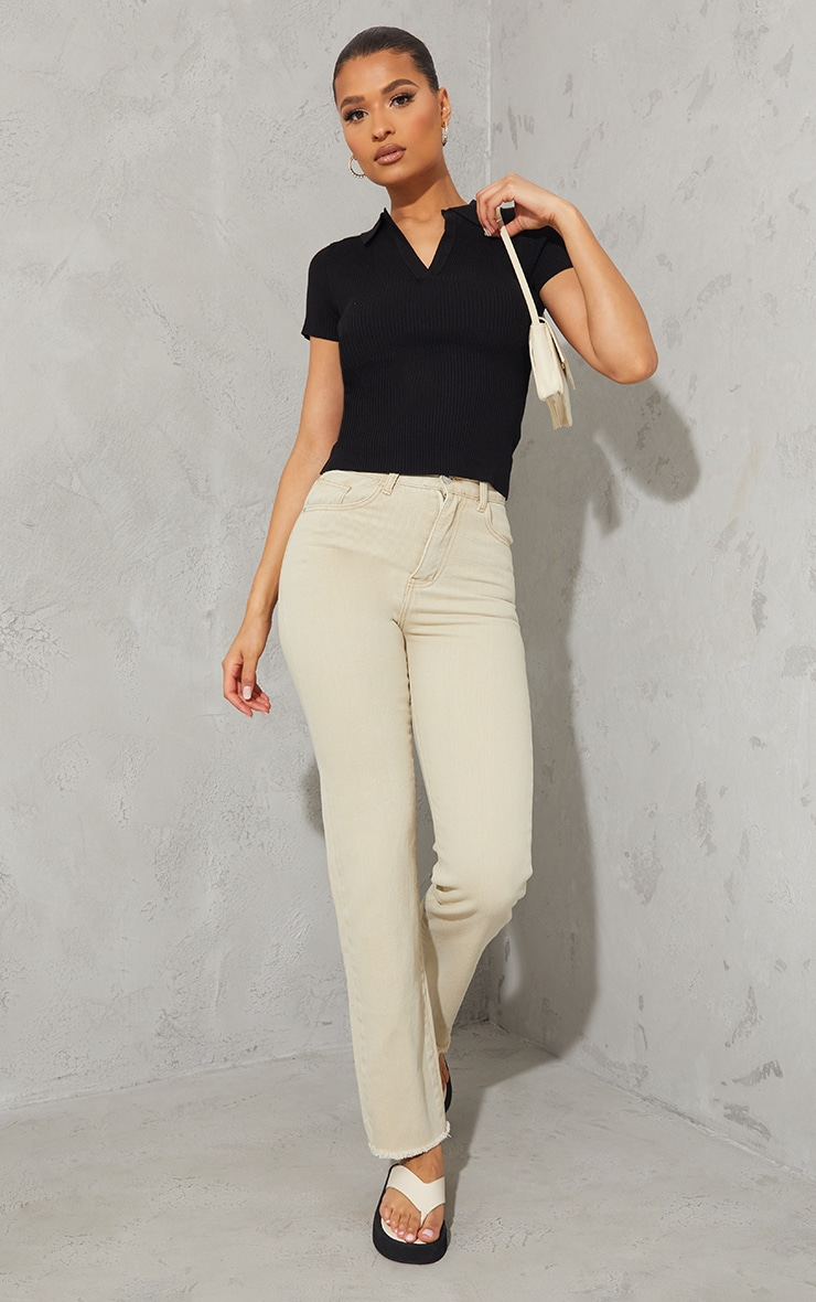 Black Ribbed Knitted Short Sleeve Collar Top 3