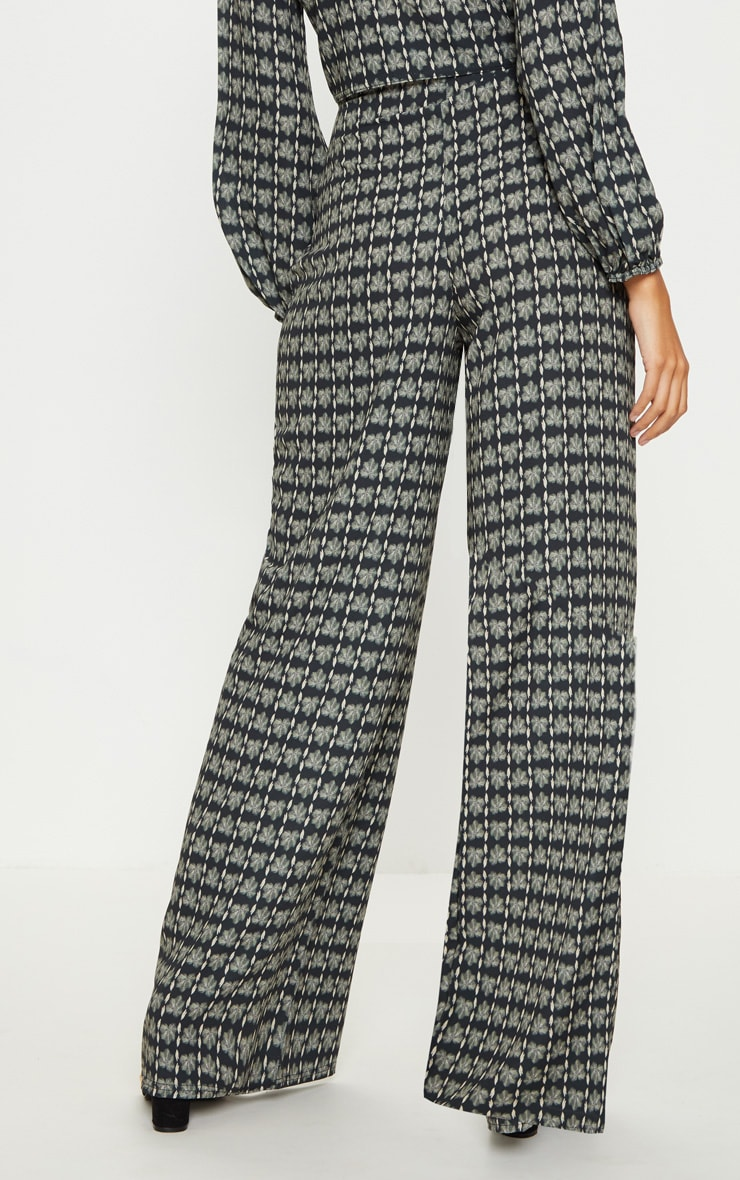 Grey Printed Wide Leg Trousers 4