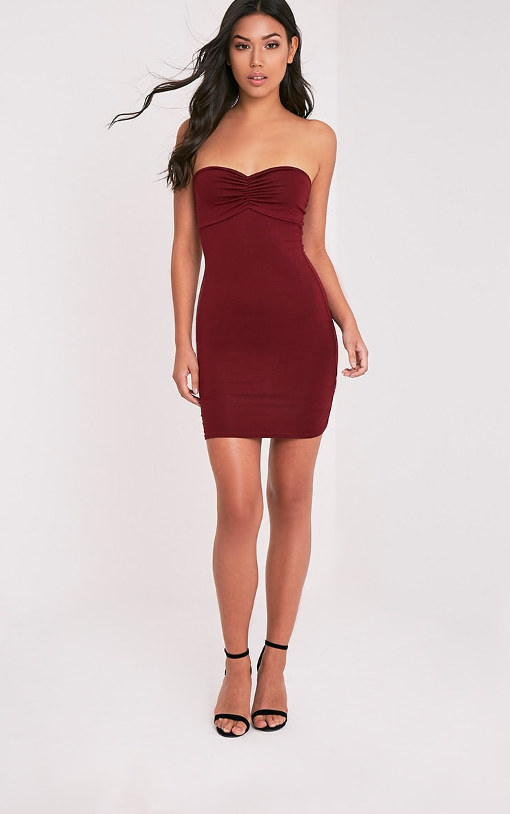 Leanna Burgundy Jersey Bandeau Bodycon Dress 5