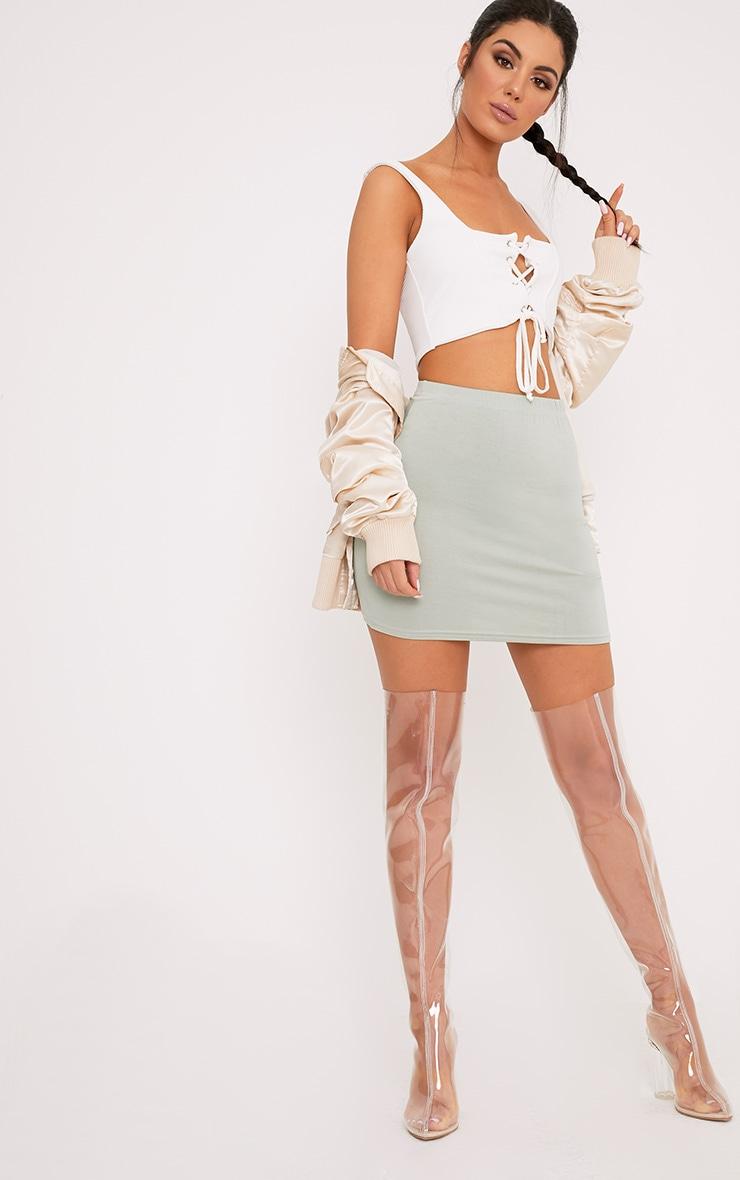 Basic Sage Green Jersey Mini Skirt 5