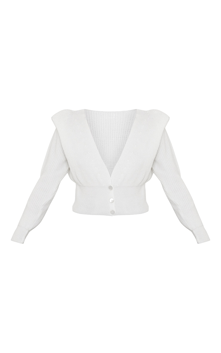 Cream Shoulder Pad Knitted Cropped Cardigan 5