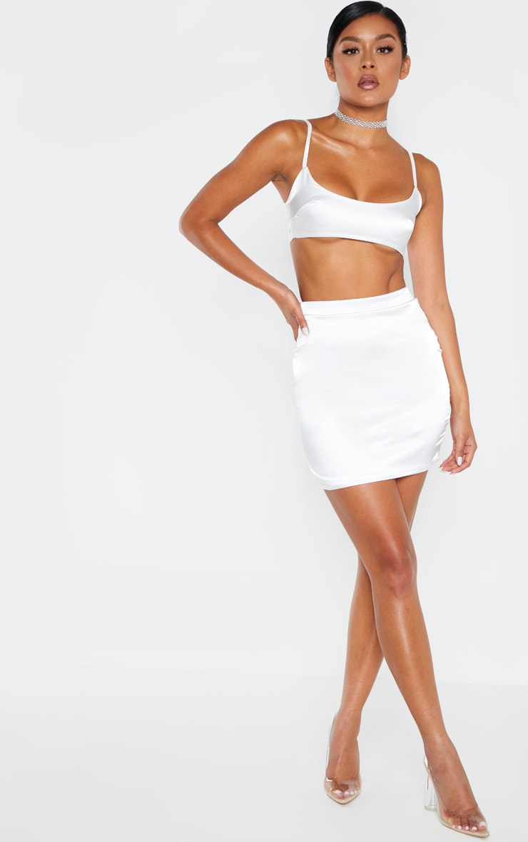 White Satin High Waisted Mini Skirt 5