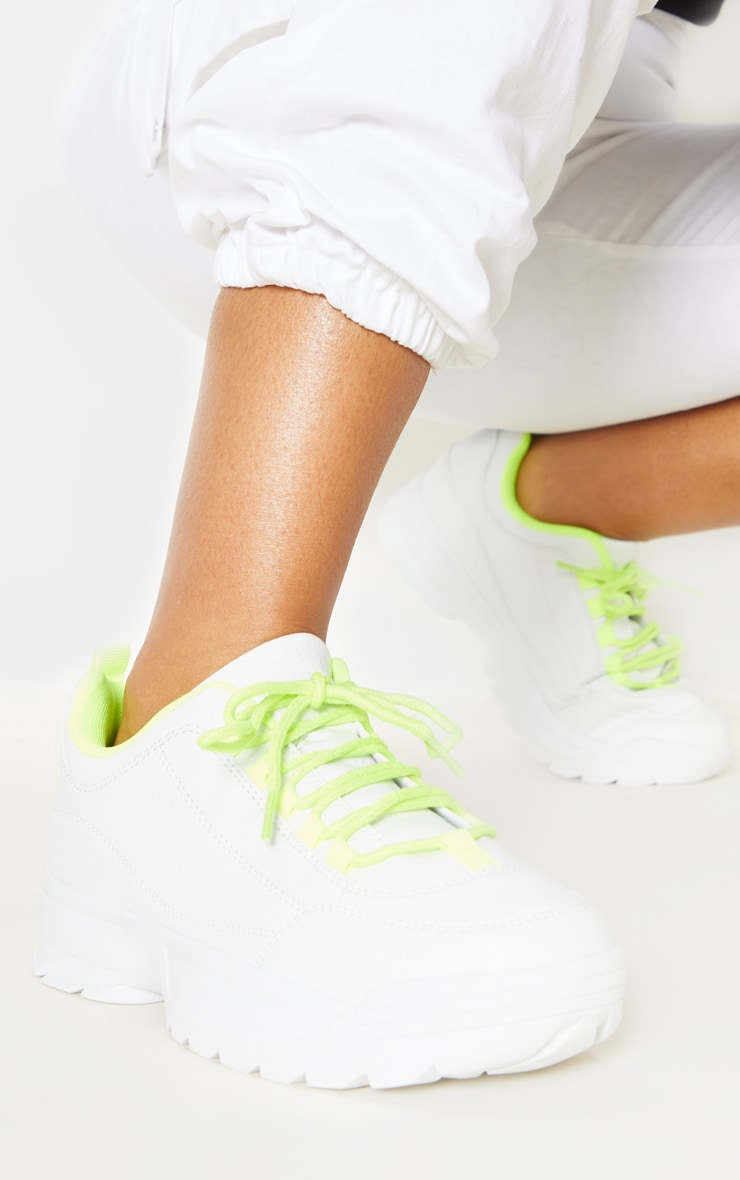 Neon Lime Chunky Cleated Sole Sneaker 1