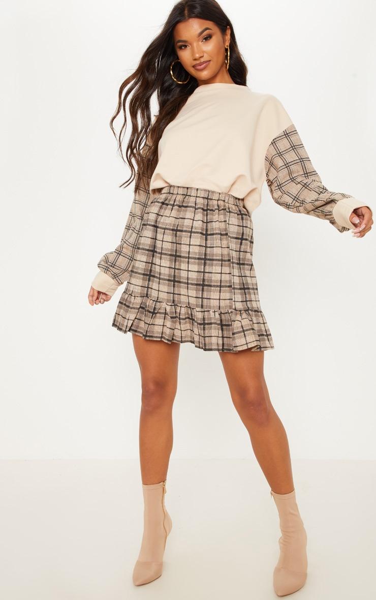Black Check Frill Hem Mini Skirt  1
