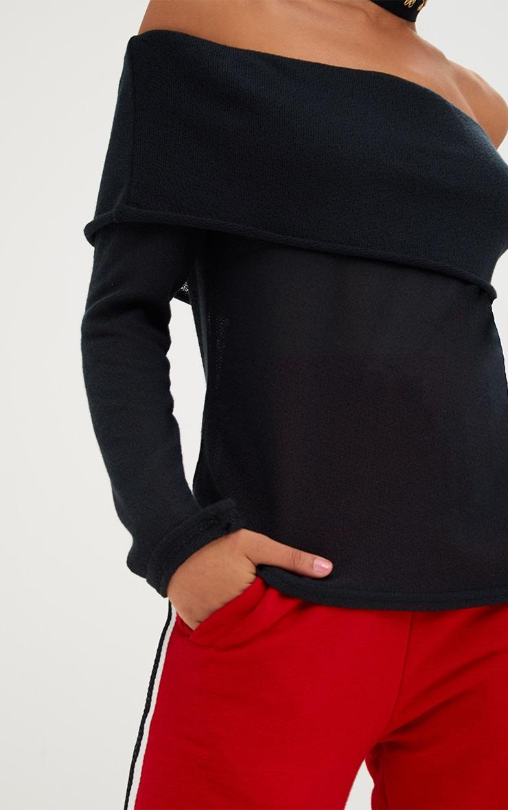 Black Lightweight Knit Bardot Longsleeve Top 5