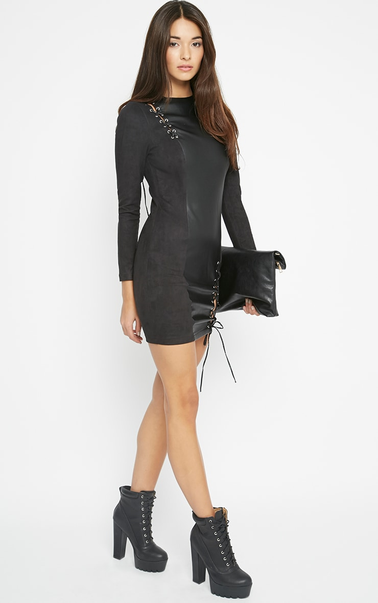 Audrey Black Lace Up Leather Panel Dress 5