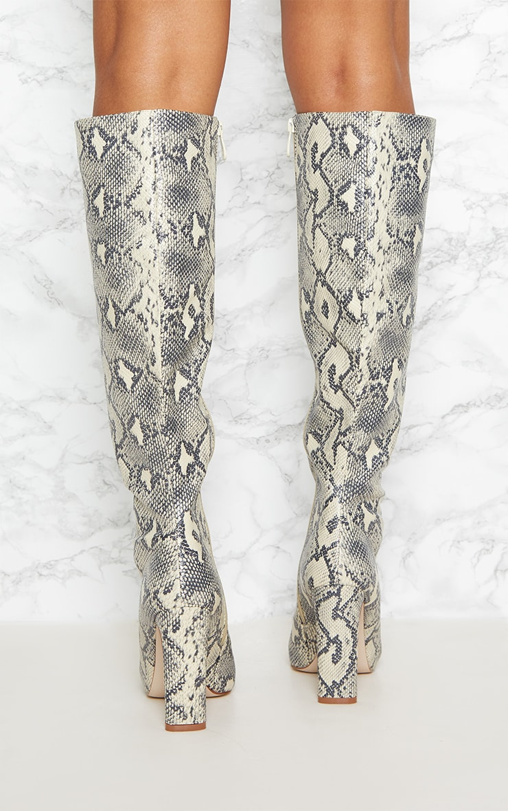 Beige Snake Print Knee High Heeled Boot 3