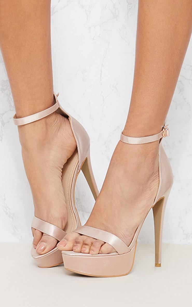 Nude Satin Platform Sandals 2