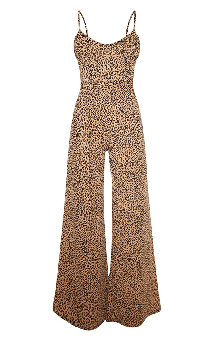 Tan Leopard Print Ring Belt Jumpsuit 3