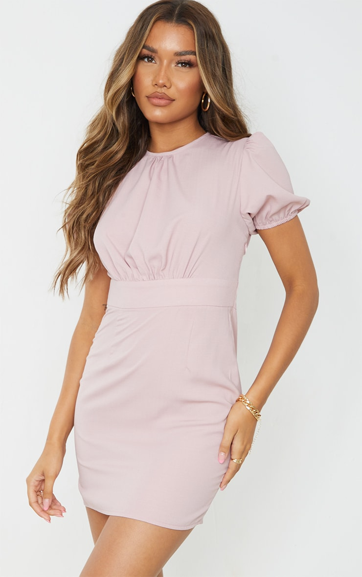 Blush Woven Cut Out Tie Back Puff Sleeve Bodycon Dress 2