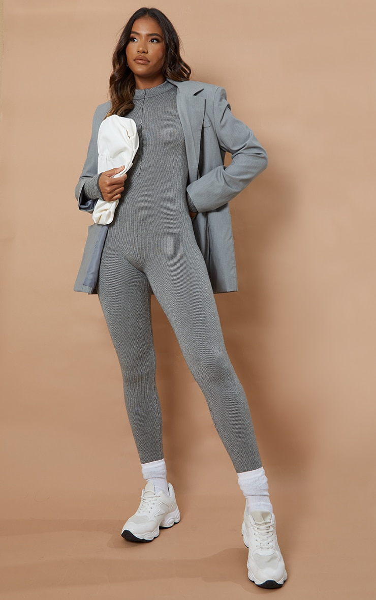 Charcoal Zip Up Knitted Jumpsuit 1