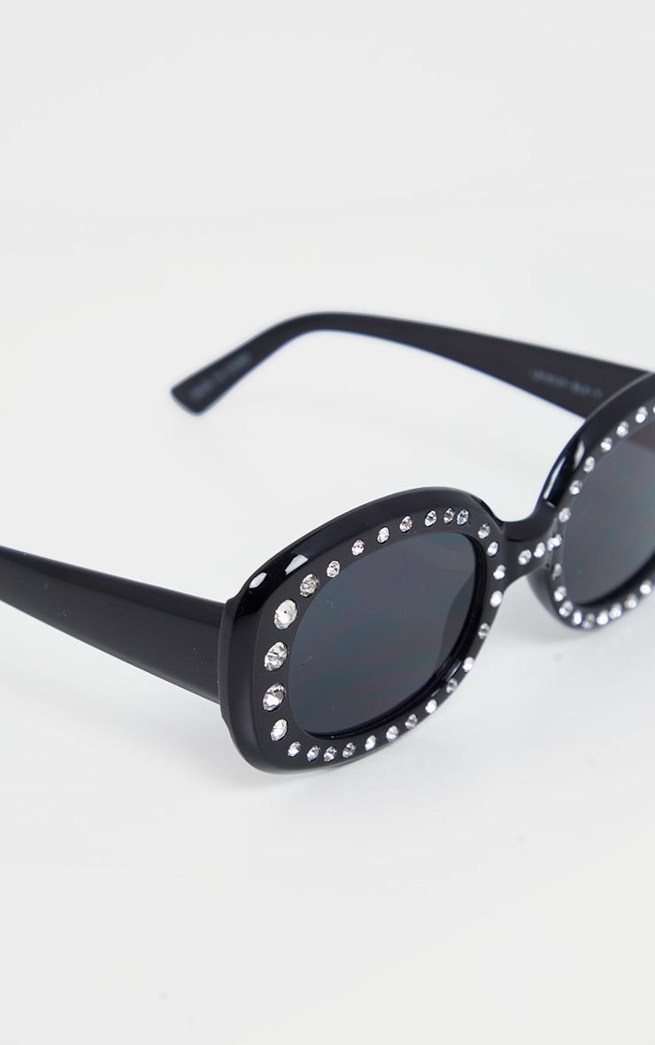 Black Chunky Oval Retro Studded Sunglasses 4