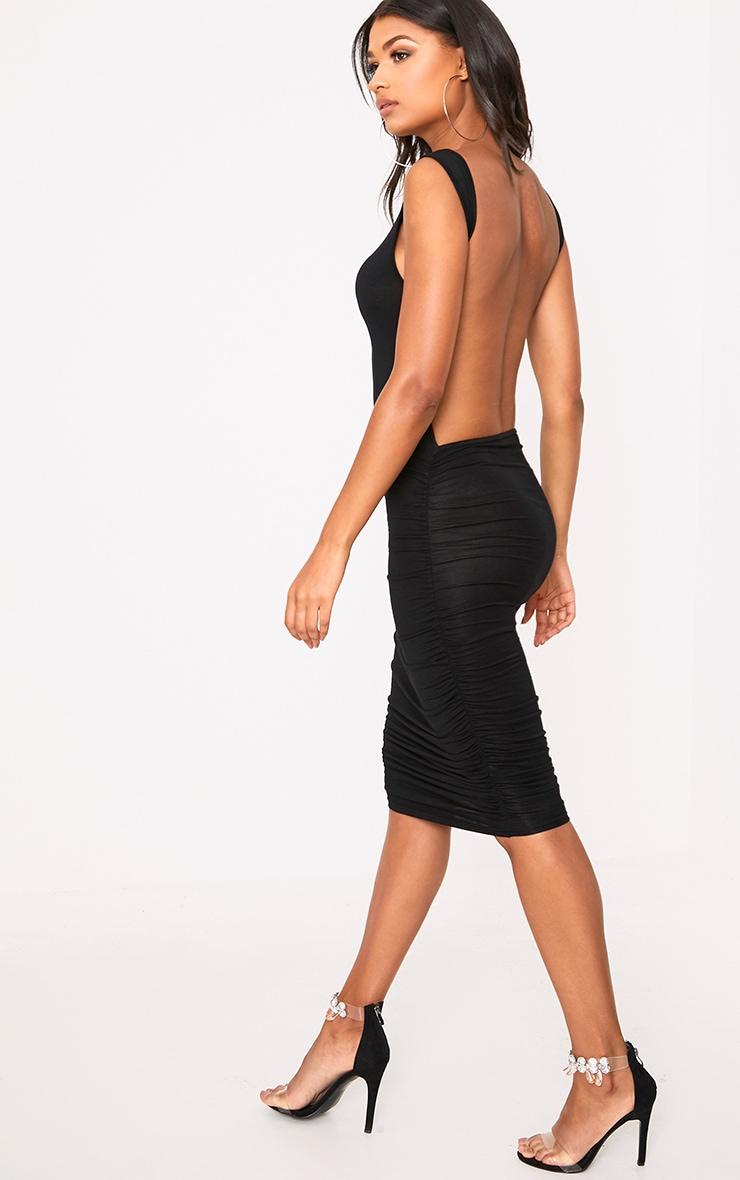 Black Open Back Ruched Midi Dress 1