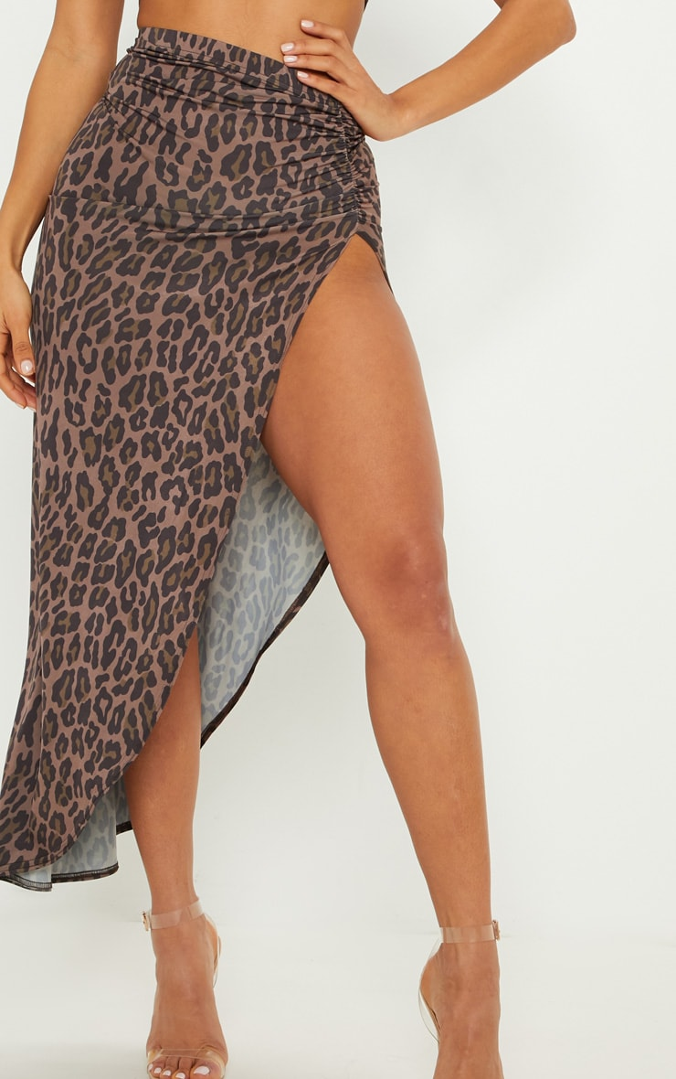 Brown Leopard Print Ruched Side Split Maxi Skirt 5