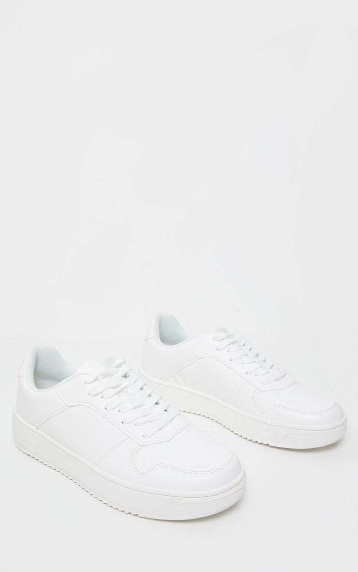 White Lace Up Flatform Sneakers 1