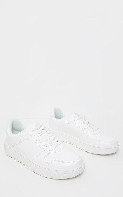 White Lace Up Flatform Trainer
