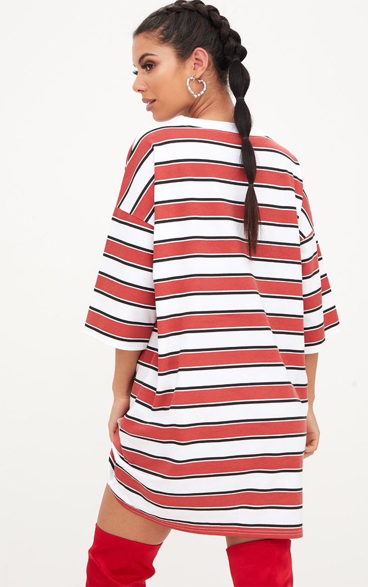 Red Striped Oversized Boyfriend T Shirt Dress 2