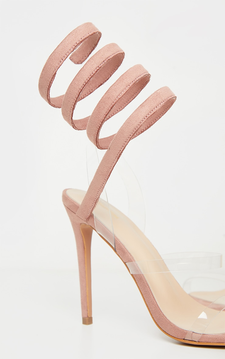 Dusty Rose Ankle Wrap Strappy Heeled Sandal 4