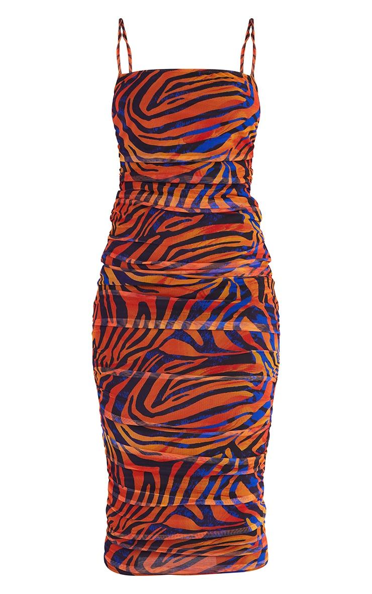 Tall  Blue Zebra Print Mesh Ruched Maxi Dress 5