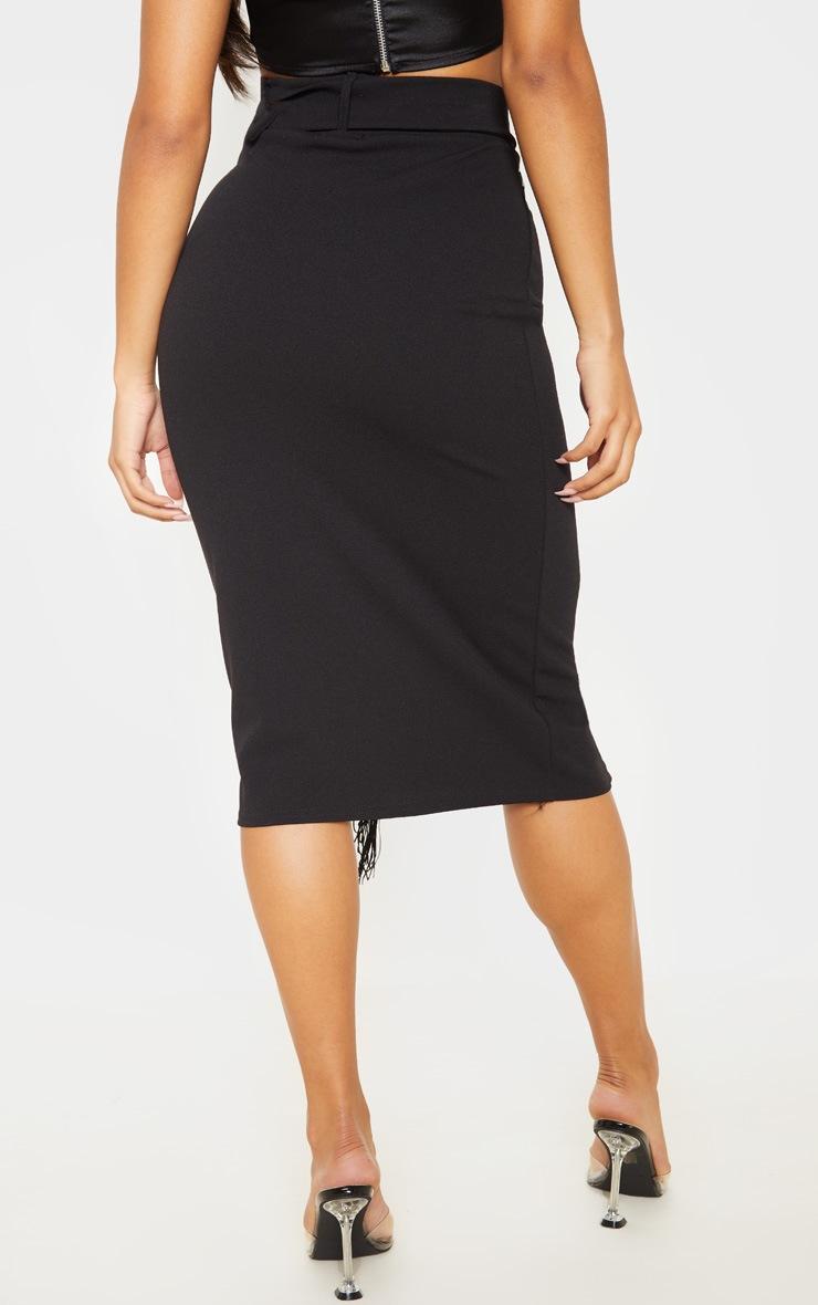 Black Belted Fringe Midi Skirt 4