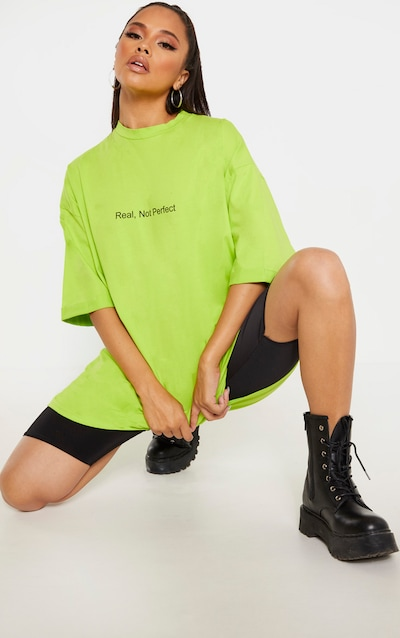 Lime Real, Not Perfect Slogan Oversized T-Shirt Dress