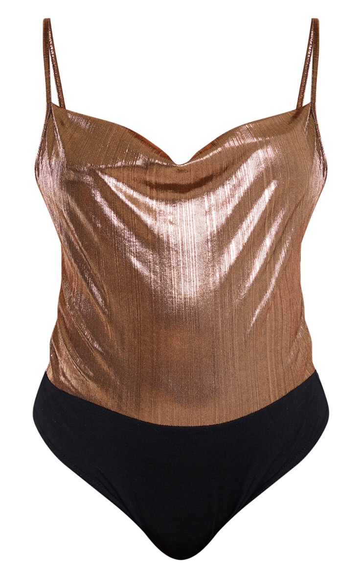 Bronze Metallic Cowl Neck Bodysuit 3