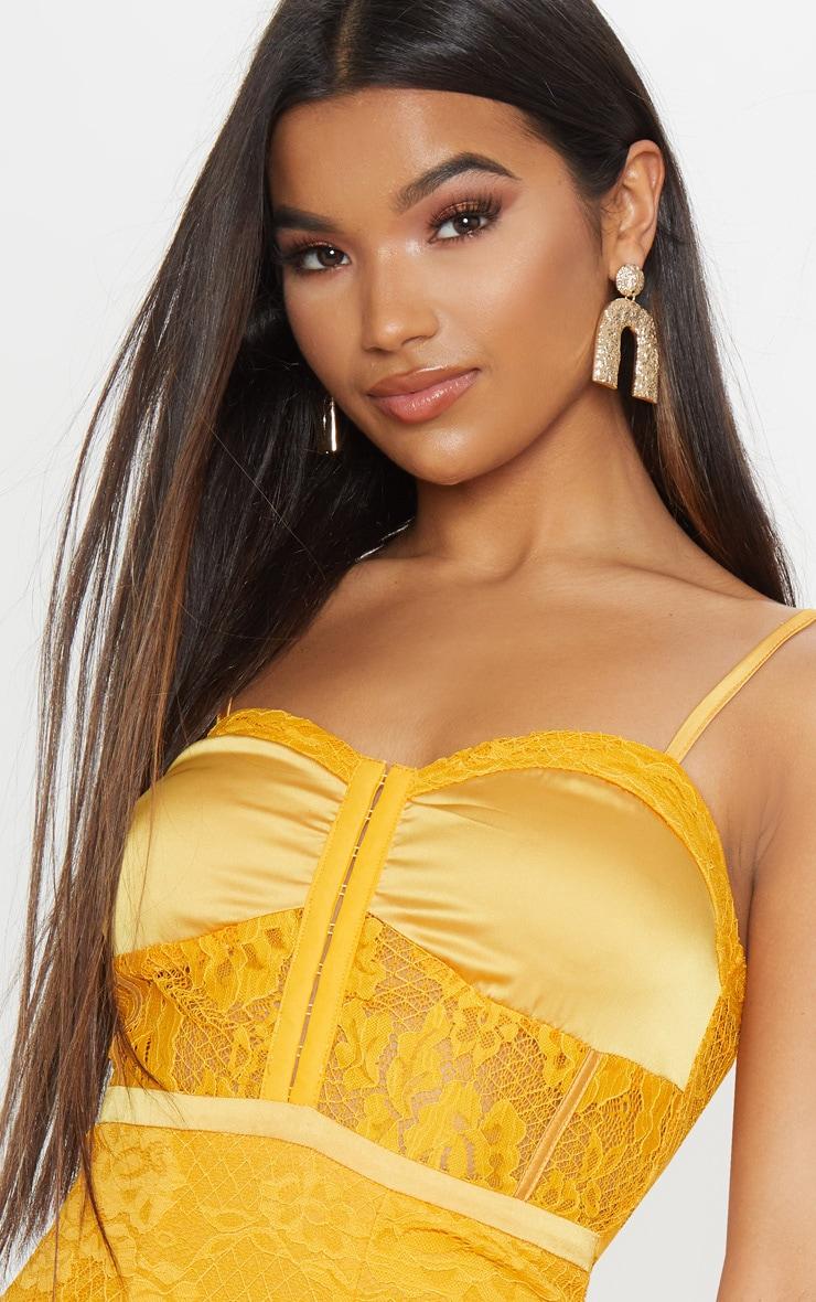 Yellow Lace Satin Corset Detail Bodycon Dress 5