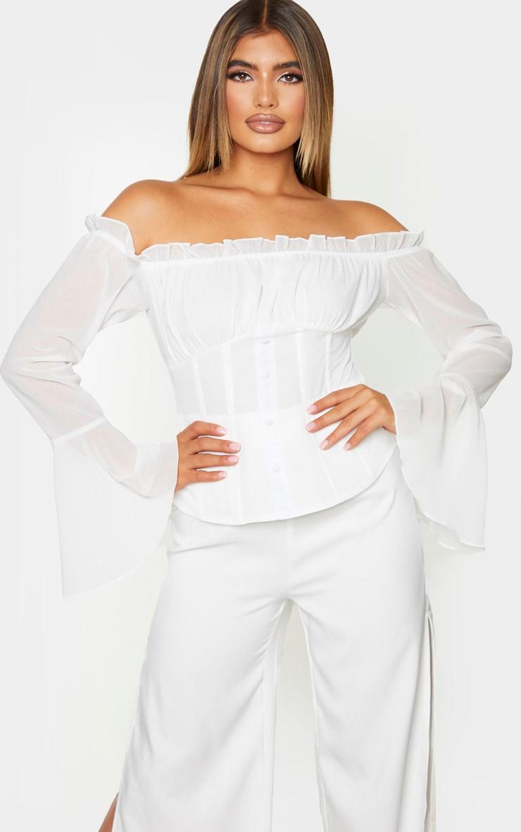 White Chiffon Bardot Longline Top 1