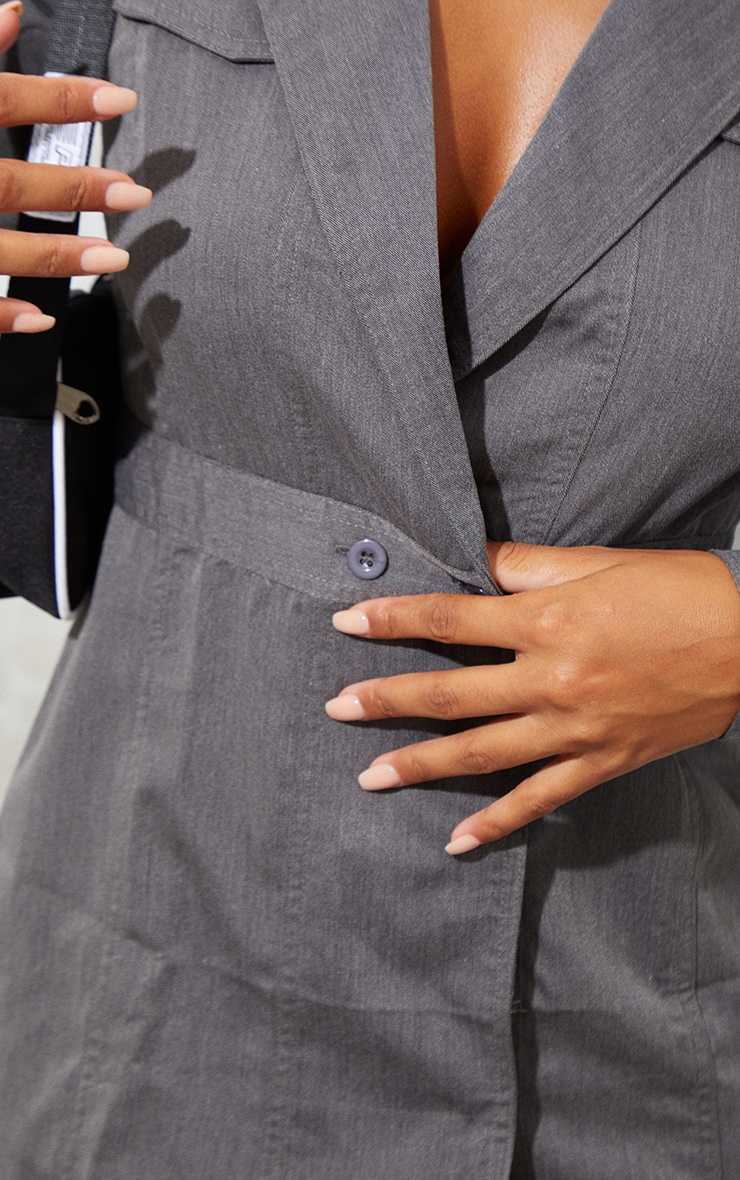 Grey Woven Binding Button Detail Blazer Dress 4