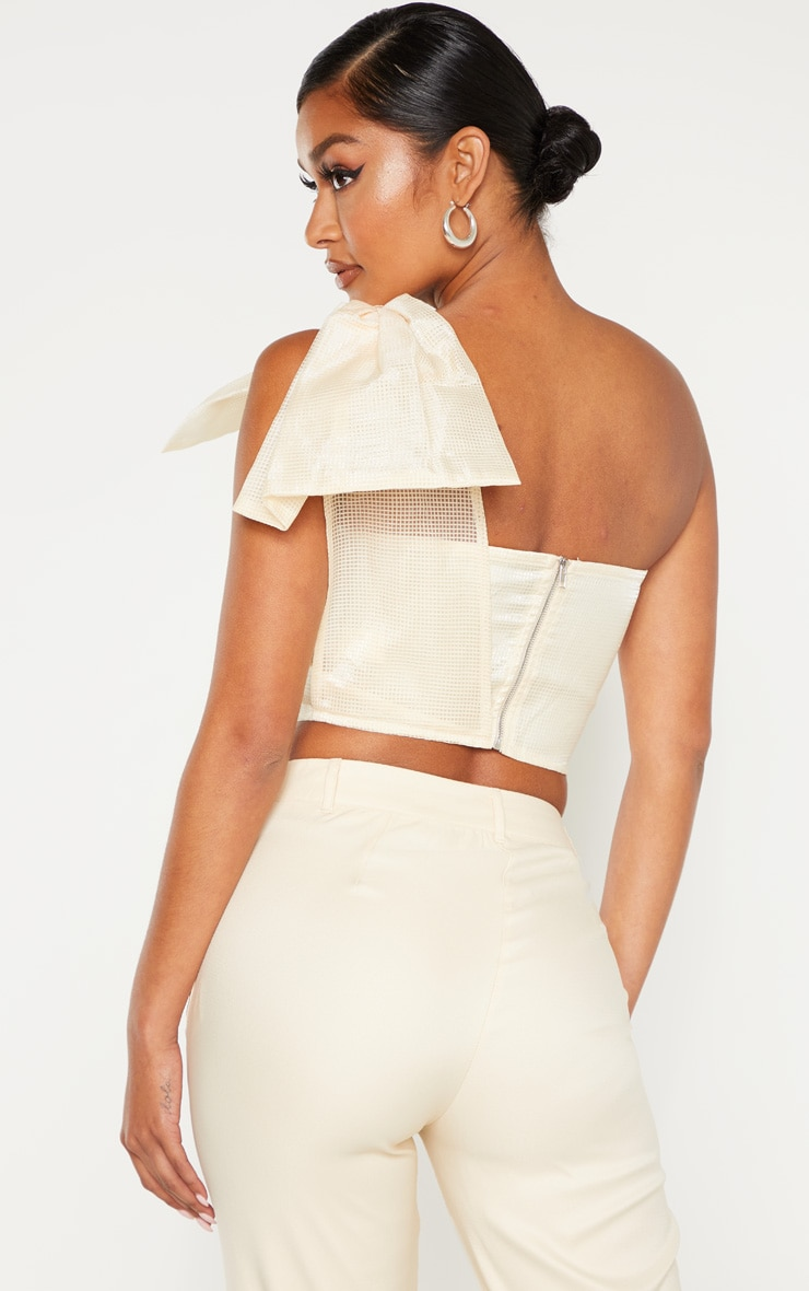 Cream Textured One Shoulder Bow Detail Bandeau Crop Top 2
