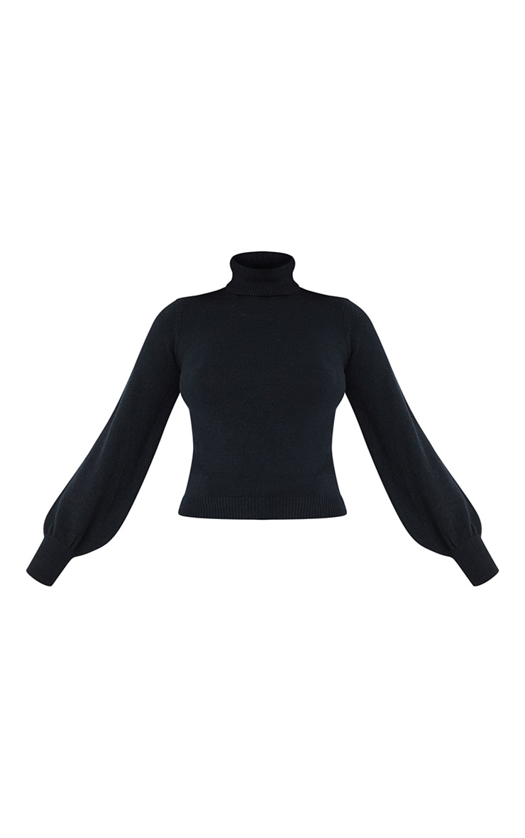 Black Soft Knit Roll Neck Balloon Sleeve Fitted Jumper 5
