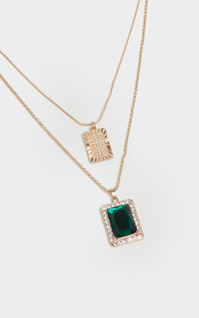 Gold Cross And Green Gemstone Pendent Layering Necklace