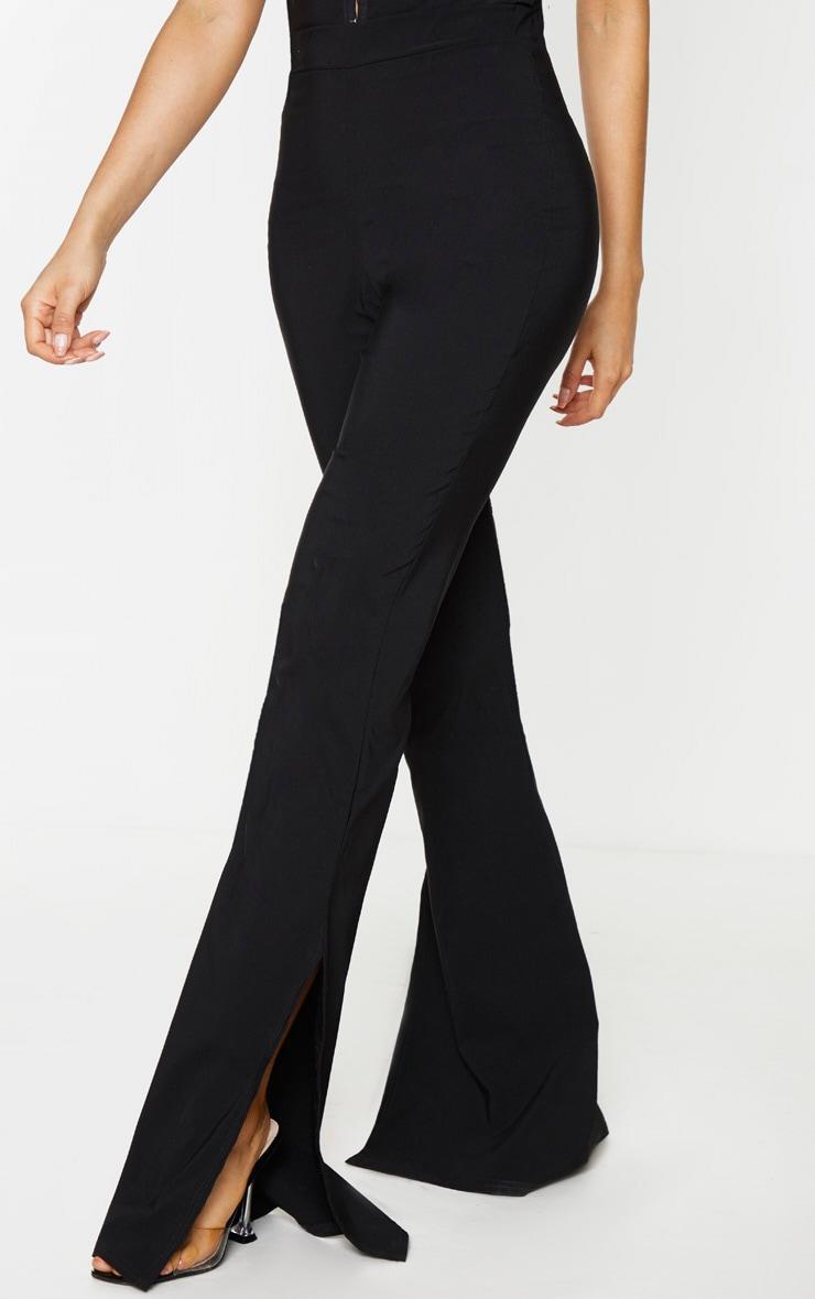 Tall Black Split Hem Fitted Flared Trousers 2