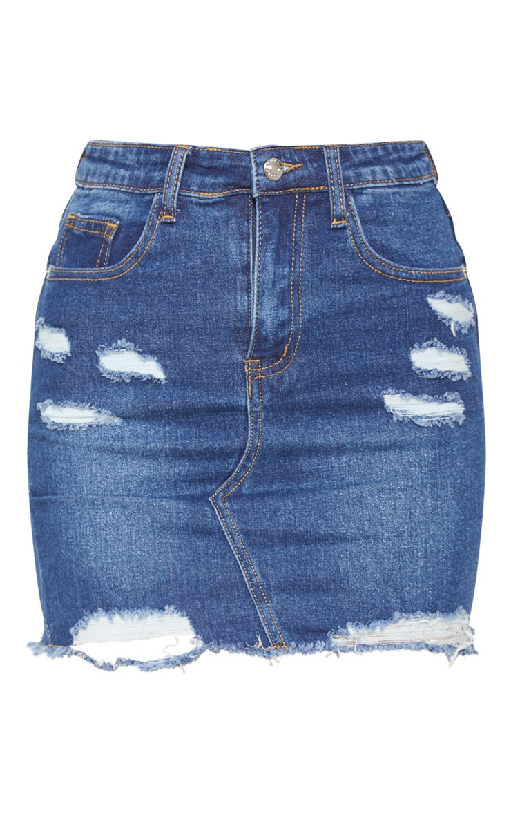 Dark Wash Distressed Rip Denim Mini Skirt 3