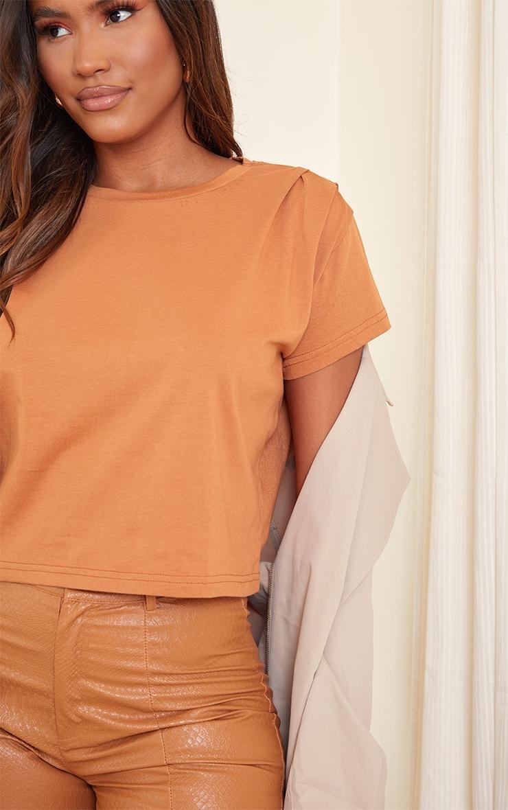 Orange Cropped Washed T Shirt 4