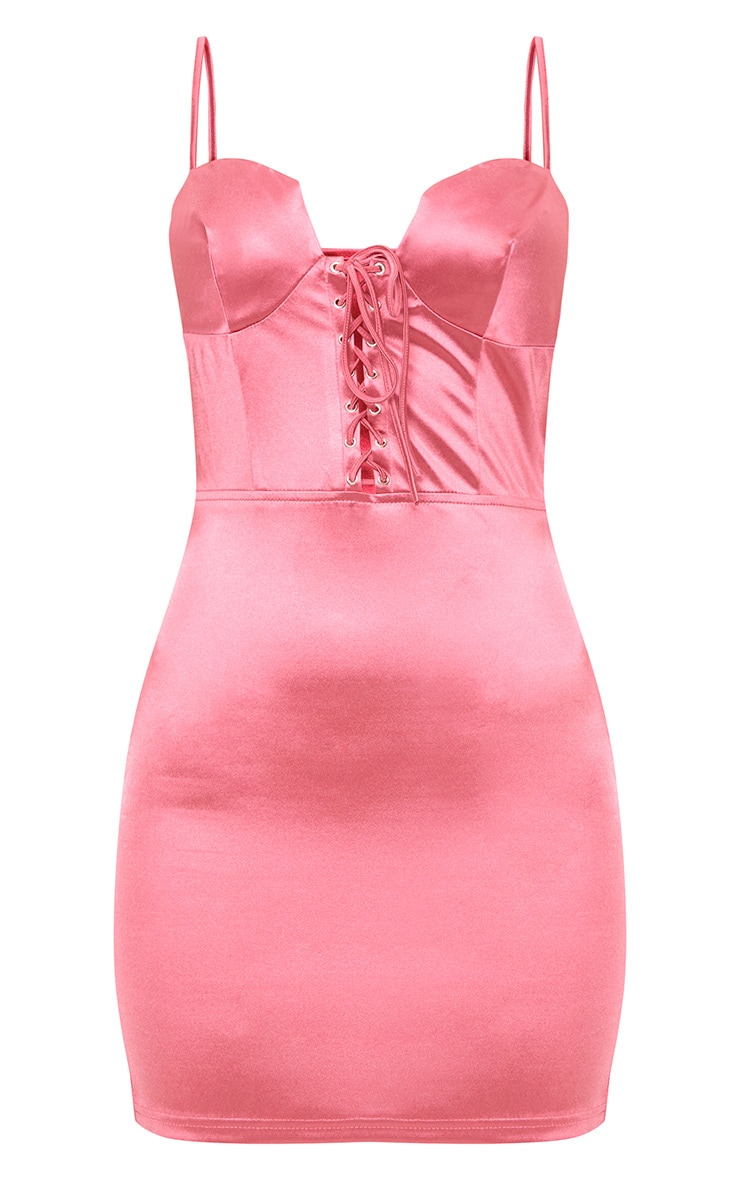Rose Stretch Satin Lace Up Bodycon Dress 3