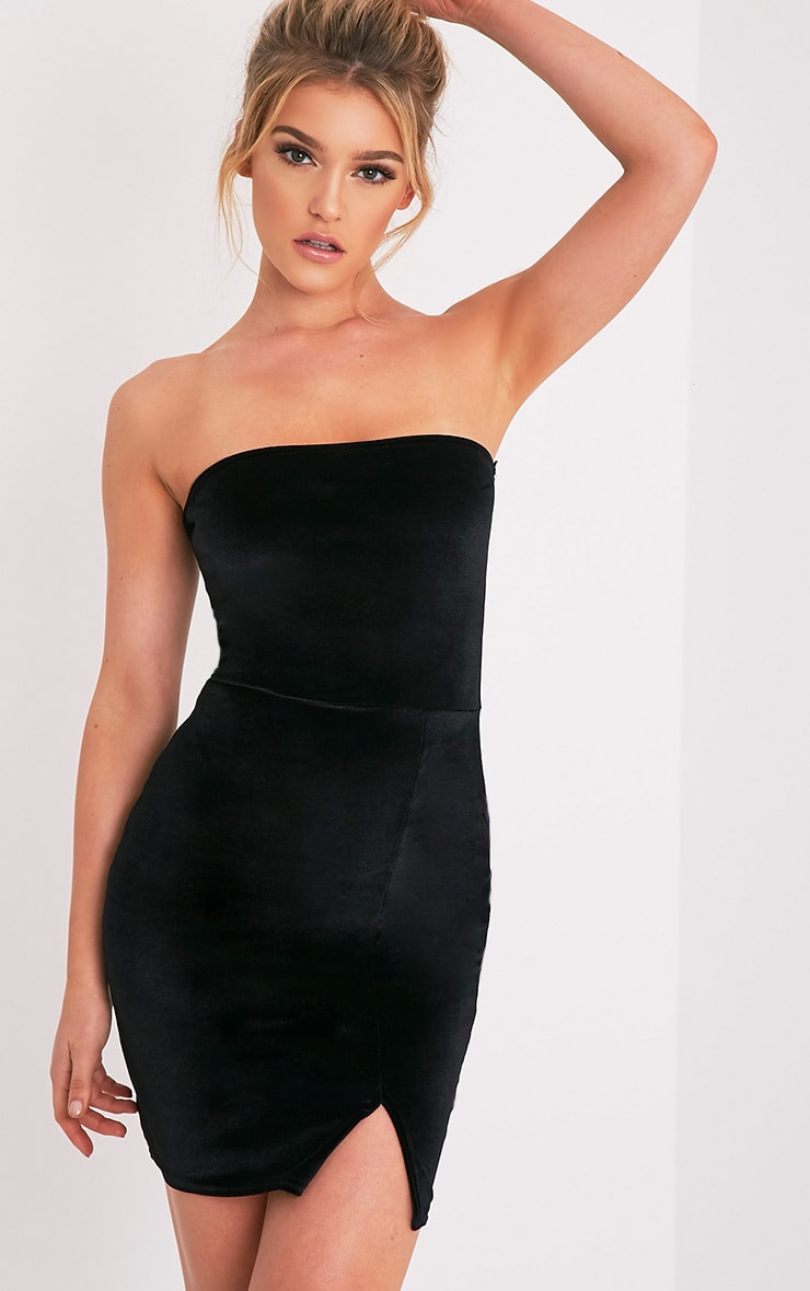 Layala Black Velvet Split Detail Bandeau Dress