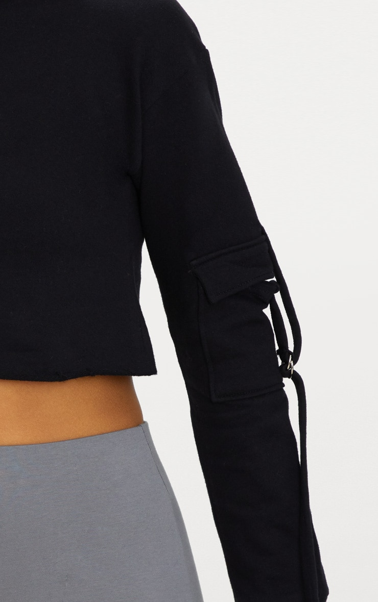 Black Cargo Pocket Oversized Crop Sweater 4