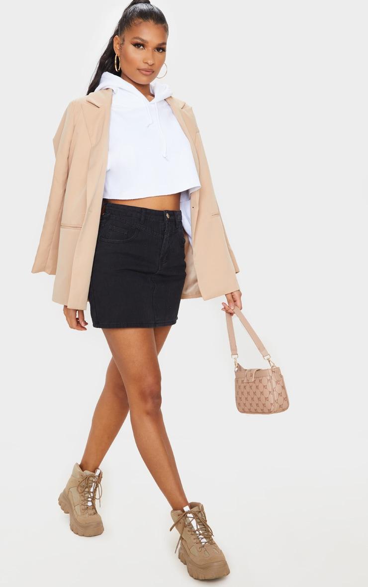 Black V Panel Black Denim Skirt 1