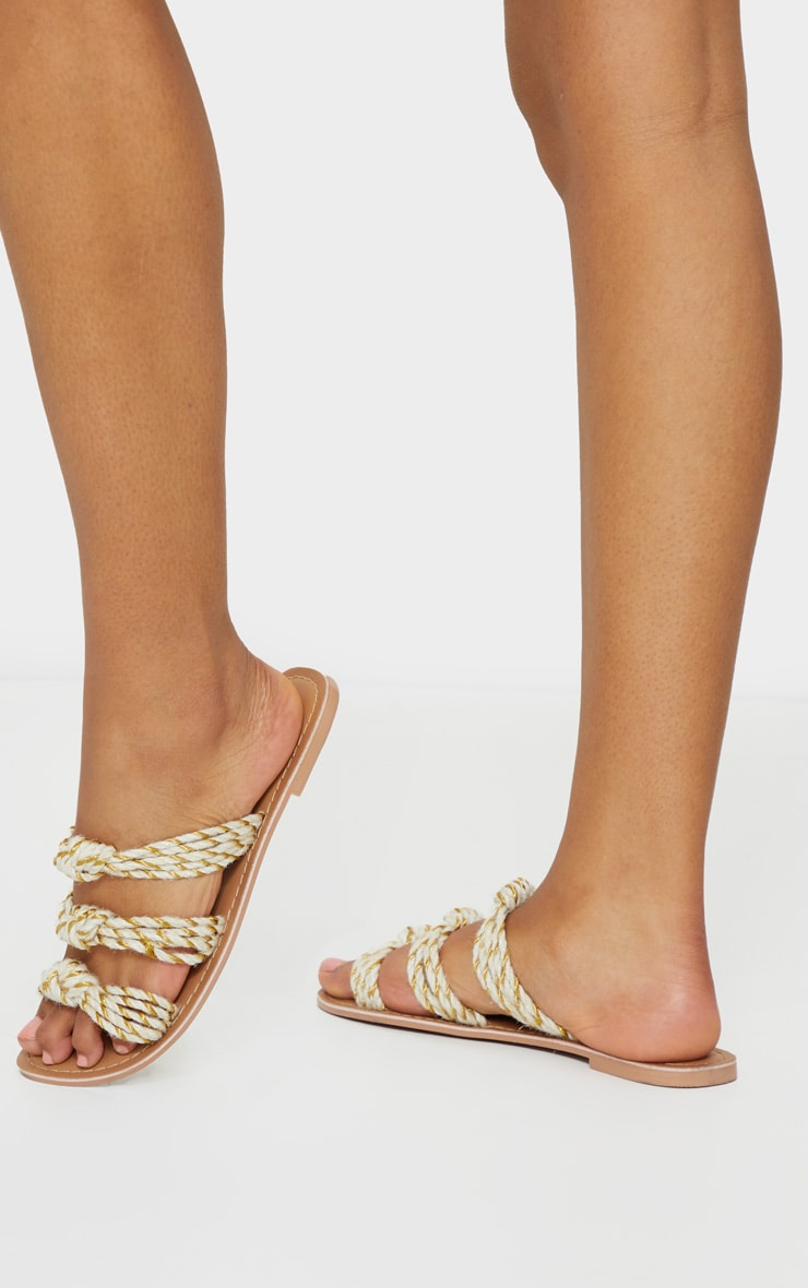 Nude Triple Strap Knot Rope Sandal 1