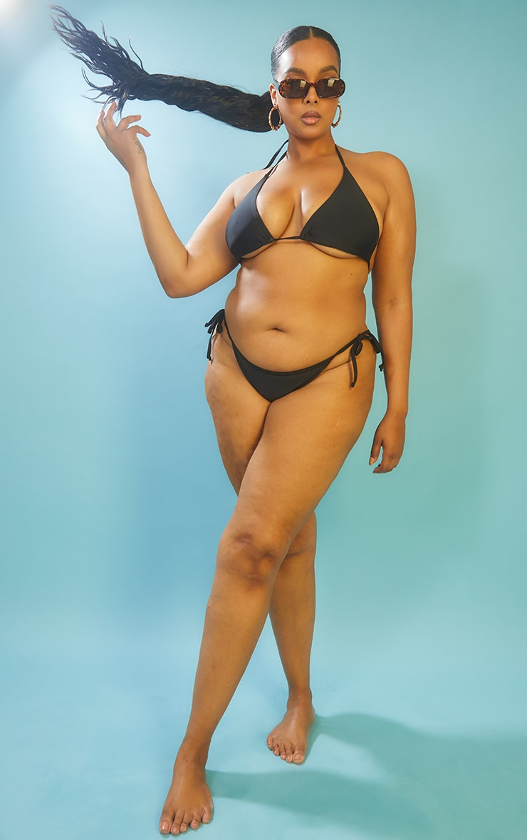 Recycled Plus Black Mix & Match Tie Side Bikini Bottoms 3