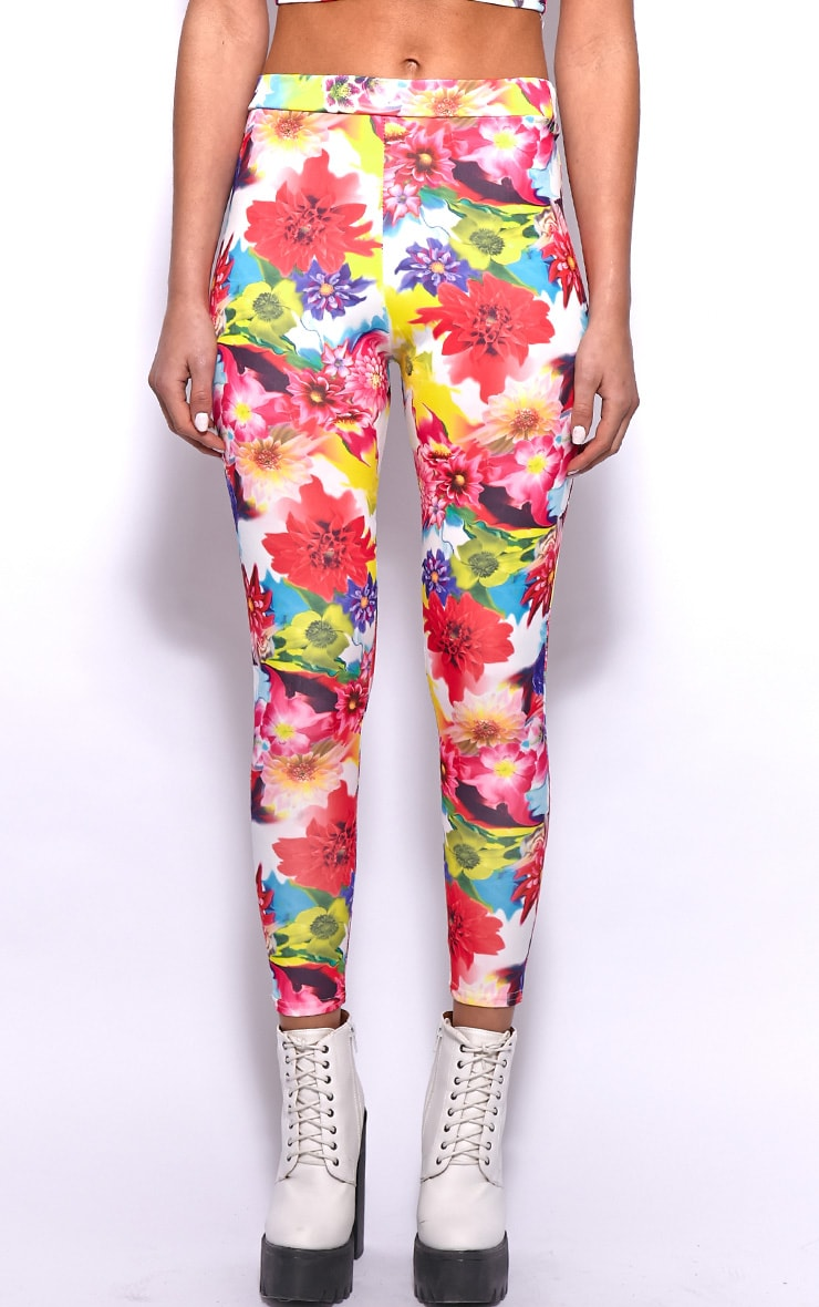 Ina Yellow Floral Print Leggings 3