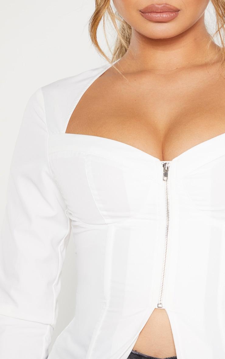 White Woven Long Sleeve Zip Front Corset Top 5