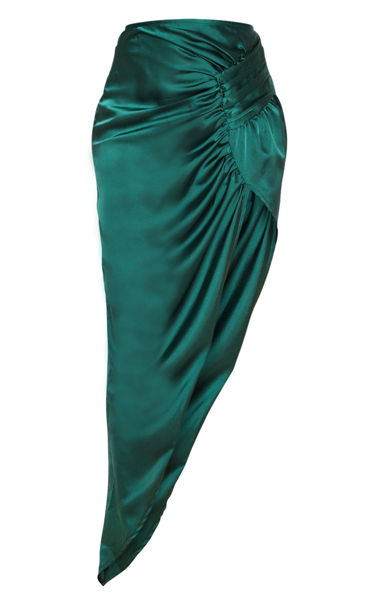 Emerald Green Satin Pleat Detail Midaxi Skirt 3