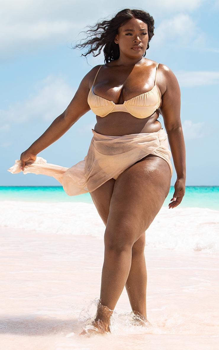 Plus Rose Gold Metallic Chiffon Wrap Front Beach Maxi Skirt 1