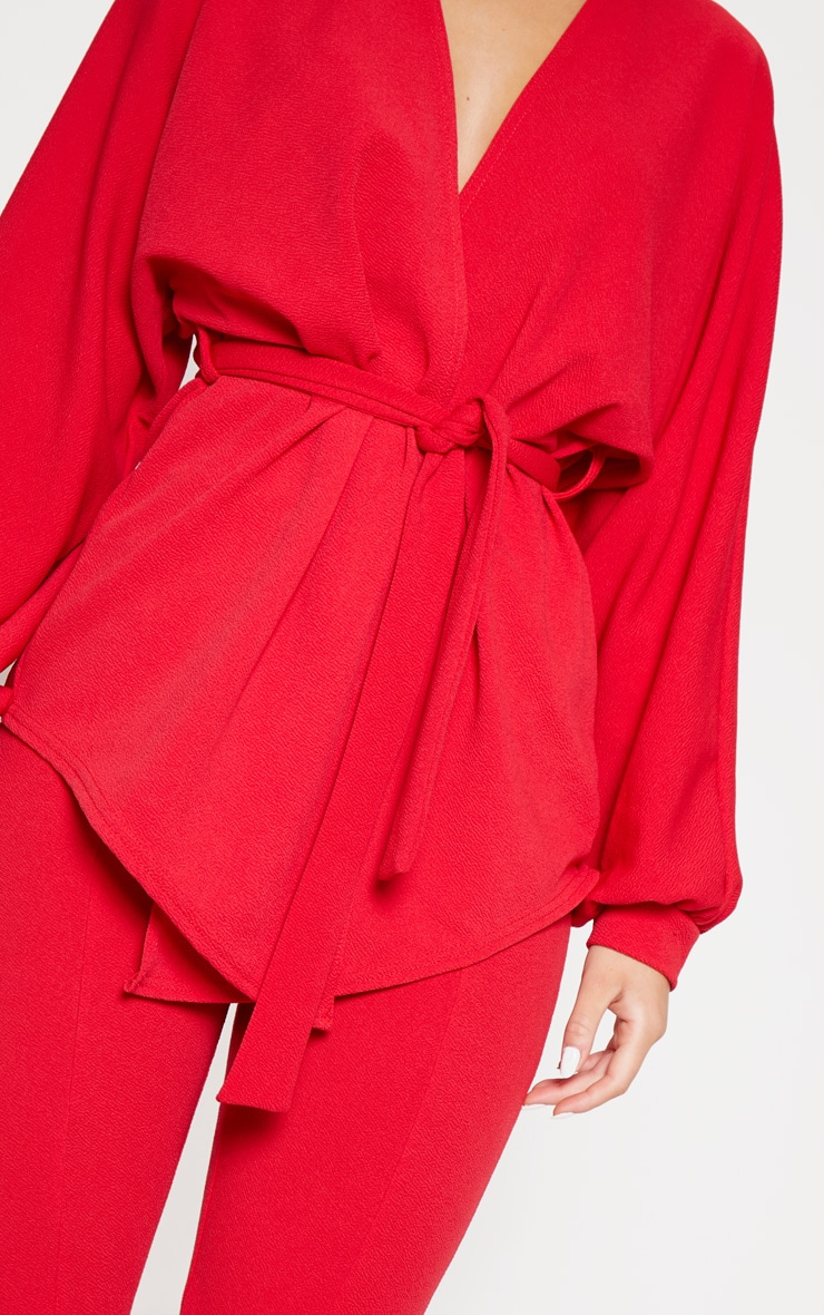 Red Oversized Sleeve Belted Blazer  5