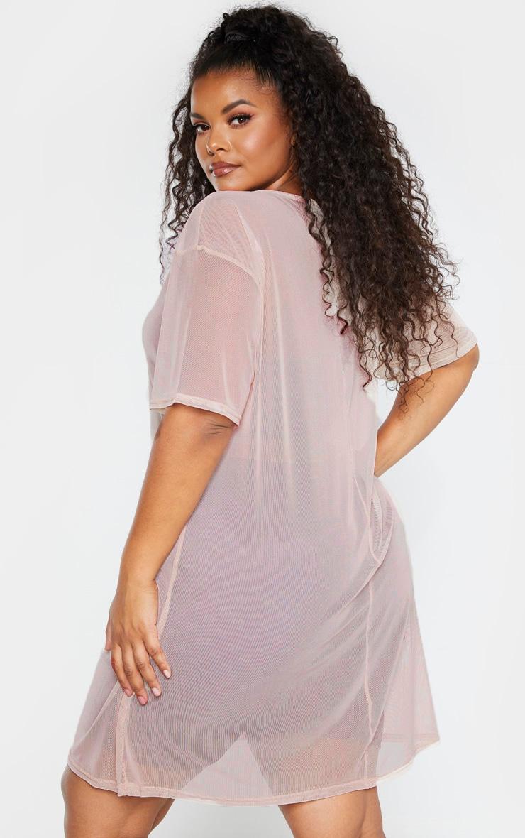 Plus Stone Sheer Mesh Oversized T Shirt Dress 2