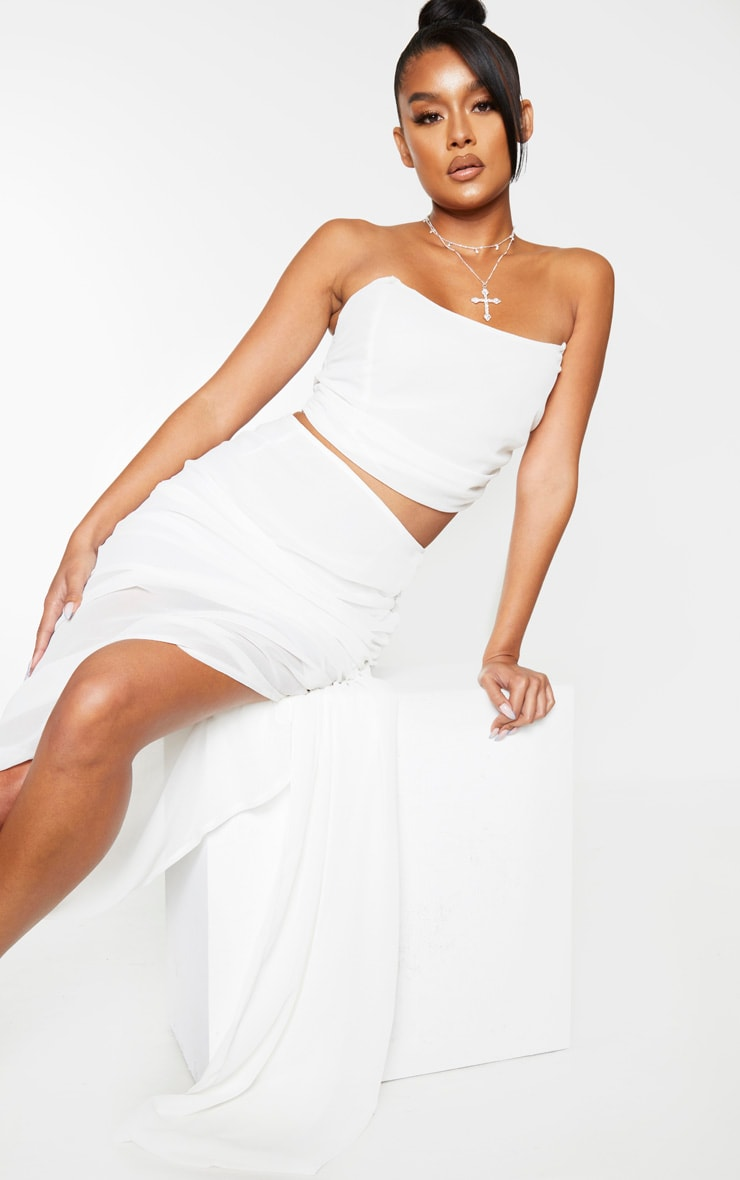 White Woven Ruched Side Panel Midi Skirt 4