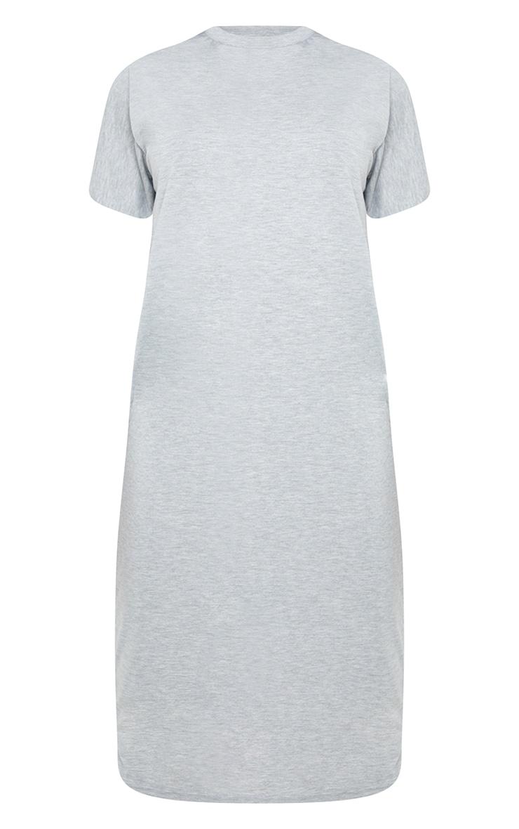 Tall Grey Marl Oversized Boxy Midi T Shirt Dress 6