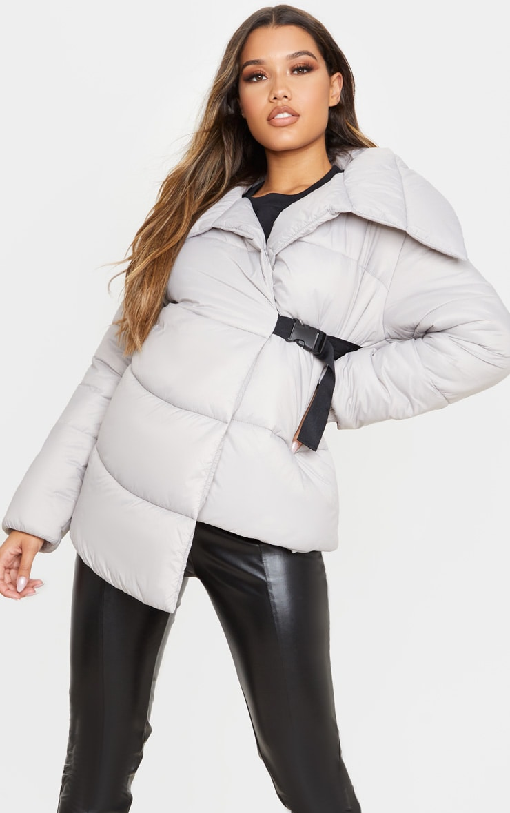 Grey Side Buckle Puffer Jacket 5
